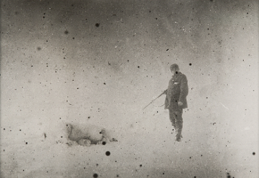 Print from original Strindberg negative of the first polar bear shot by the expedition for food.