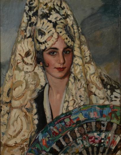 Antonio Ortiz Echagüe (1918) Manola con mantilla blanca