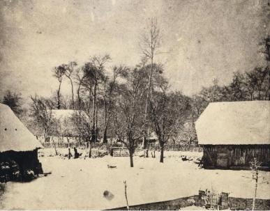 Louis-Adolphe Humbert de Molard (c.1850) Fermes sous la neige, Argentelle Salt print, from paper negative 11.7 x 21.7 cm Musée d'Orsay