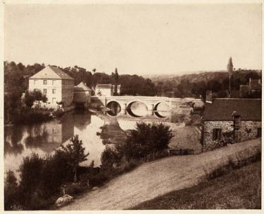 Louis-Adolphe Humbert de Molard (1850-1851) Pont d'Ouilly on the Orne River, Normandy. Salted paper print, from paper negative 17.9 x 22.2 cm