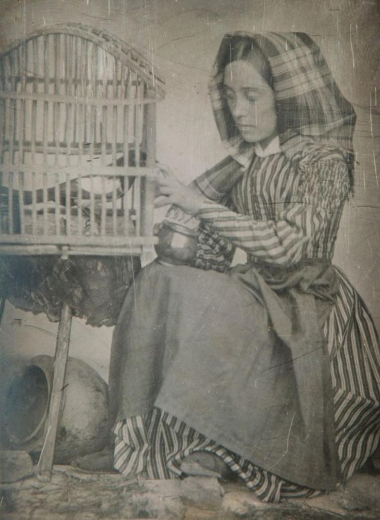 Louis-Adolphe Humbert de Molard Portrait de sa fille Louise-Marie-Julie donnant à manger à une pie dans une cage 1846, 15 SeptemberDaguerreotype, 1:4 plate