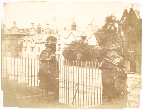 Nevil Story-Maskelyne, Broad Street, Oxford from the Gateway of the Sheldonian Theatre, circa 1842-1845, calotype, 16.0 x 20.5 cm
