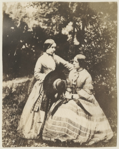 Nevil Story-Maskelyne, Untitled [Portrait of Two Women (Standing and Seated)], 1850s, salt print from a mica negative, 11.1 x 8.8 cm