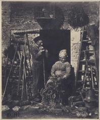 Louis Adolphe Humbert de Mollard (1852) Peasant man and woman podding beans, salted paper print, H. 22; W. 18.2 cm, Paris, Musée d'Orsay