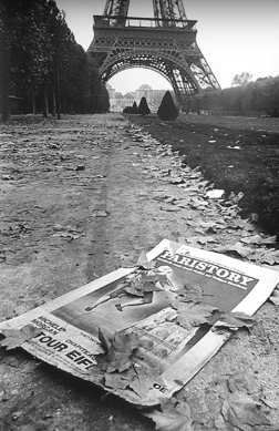 Pavel Jasanský (1967) Discarded poster and Eiffel Tower, autumn, Paris