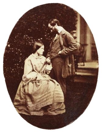 Thereza Dillwyn Maskelyne (nee Dillwyn Llewelyn) and her husband (Mervyn Herbert) Nevil Story-Maskelyne. Collodion dated shortly after their wedding on 29 June 1858