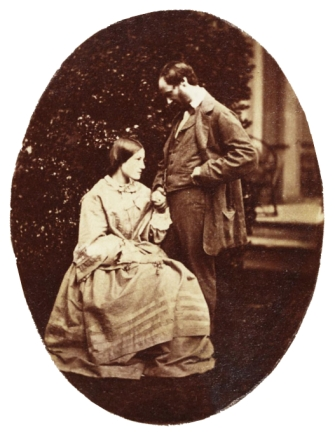 Thereza Dillwyn Maskelyne (nee Dillwyn Llewelyn) and her husband (Mervyn Herbert) Nevil Story-Maskelyne. Collodion dated shortly after their wedding on 29 June 1858