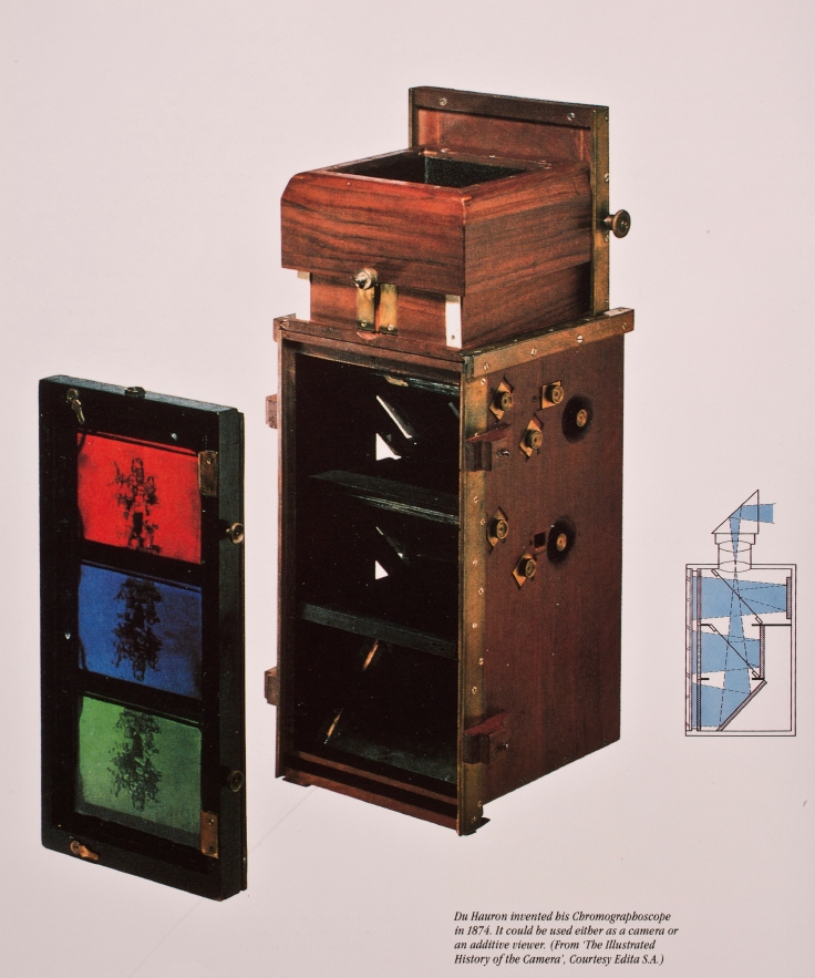 Du Hauron invented his Chromographoscope in 1874. It could be used either as a camera or an additive viewer.
