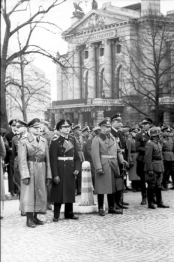 Willi Ruge (1940) German officers before the National Theatre, Oslo, Norway,