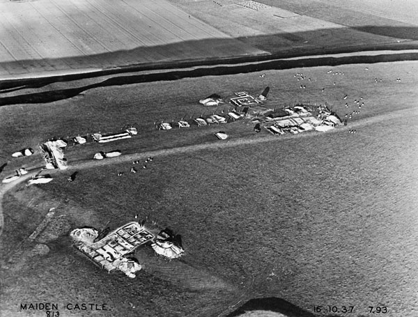 Excavations of Site R and the Neolithic Long Mound taken from the south looking north on 16 October 1937