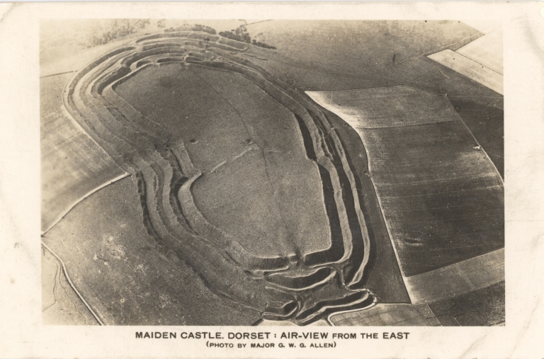 George Allen Maiden Castle, Dorset- Air-View from the East 1934 Real photo postcard Private collection of John Toohey