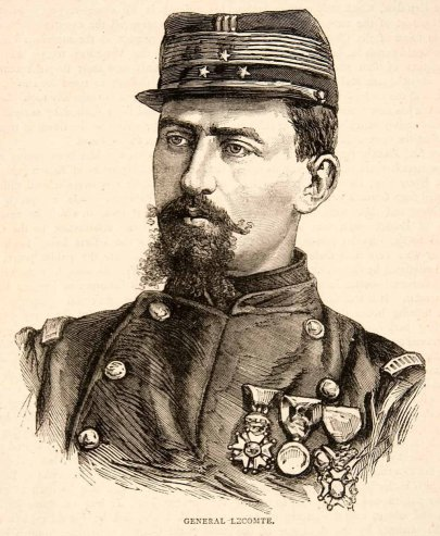 1874 Wood Engraving Portrait of General Lecomte from original probably by Eugène Appert
