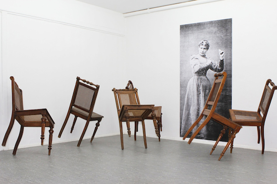 entreakt (detail) 2014, black and white print, balancing chairs, dimension variable