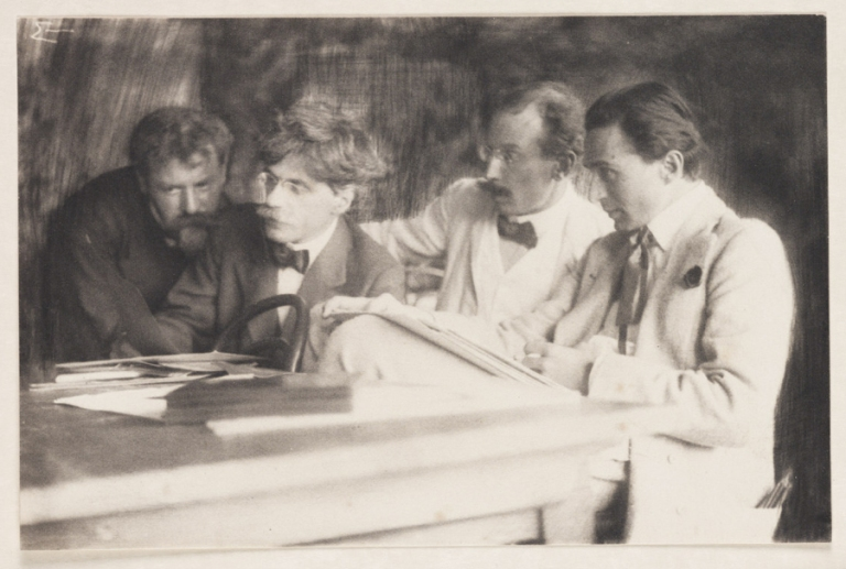 Frank Eugene Frank Eugene, Alfred Stieglitz, Heinrich Kuhn and Edward Steichen admiring the work of Eugene, 1907 1907 Platinum process : platinotype National Science and Me