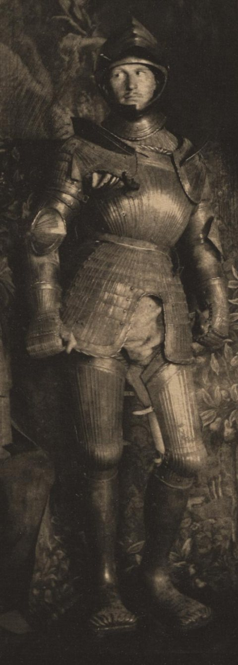 Frank Eugene Man in Armor [Camera Work, no. 30] 1898 (negative) 1910 (photogravure) Photogravure 6 3:4 × 2 1:2 ins (17.2 × 6.3 cm Philadelphia Museum of Art From Coll.