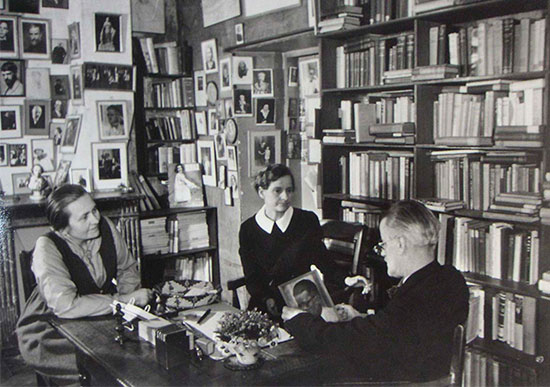 James Joyce with Sylvia Beach and Adrienne Monnier, the two publishers of Ulysses, in Shakespeare and Company, Paris, 1938 Black-and-white photograph; Fiber Base Silver Gelatine Print; w