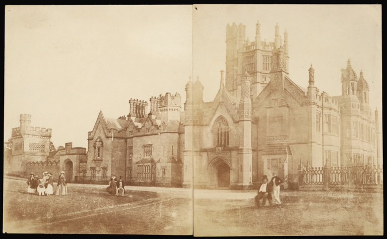 Reverend Calvert Jones, photographer (British, 1804 - 1877), [Study of Margam Hall with Figures], British, about 1845, Salted paper print from a Calotype negative, 22.5 x 18.6 cm (8 7:8