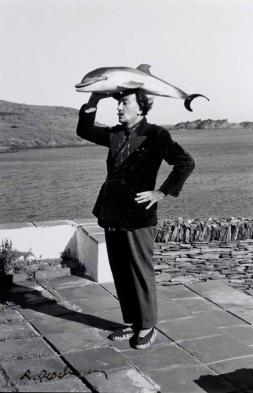 Robert Descharnes (1959) Salvador Dali with dolphin.