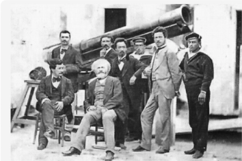 Photograph of Janssen's party showing the telescope and the 'revolver' camera on the left
