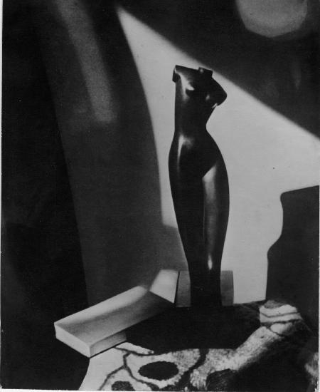 Composition with Archipenko sculpture. 1943. Vintage. Gelatin silver print mounted under a mat. 13.1 x 10.5 cm