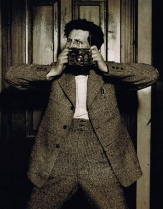Karoly Escher (1920s) Self-portrait with Plaubel camera.