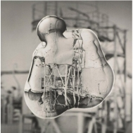 Patrick Bailly-Maître-Grand (2006) from the series Gouttes de Niépce,6 Silverchlorobromide prints 40 x40 with split toning. Mounted on aluminum
