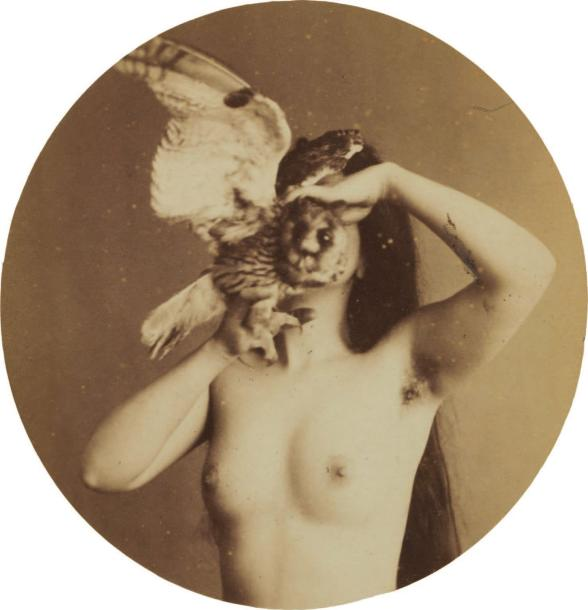 7500 € Anonymous Nu zoomorphic, circa 1870 Albumen print from glass negative collodion tondo 99 x 99 mm, 165 x 108 mm substrate.