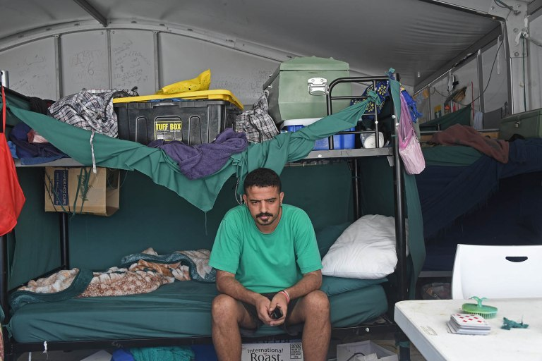 Asylum seeker Omah Ibrahim Taha from Iraq in the Lombrum detention centre abandoned by Australia.