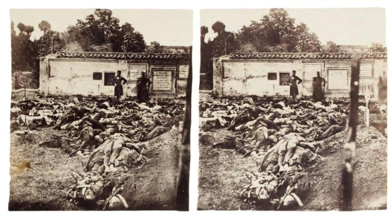 Battle Mélignano (Italy), 10 June 1859, stereoscopic view albumen paper fromcollodion glass, 68 x 135 mm, holder 86 x 166 mm. Caption on the back Melignano Cemetery the day after the