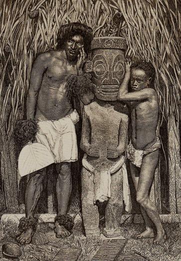 Unknown artist, lithograph of Miot photograph Deux naturels près d'une idole, îles Marquises.