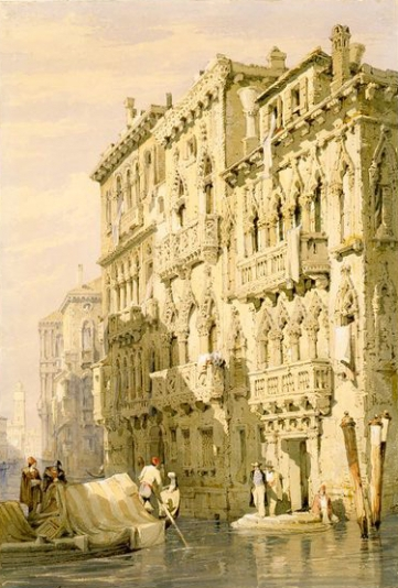 Samuel Prout (early 1800s) Palazzo Contarini Fasan, on the Grand Canal, Venice, watercolour.
