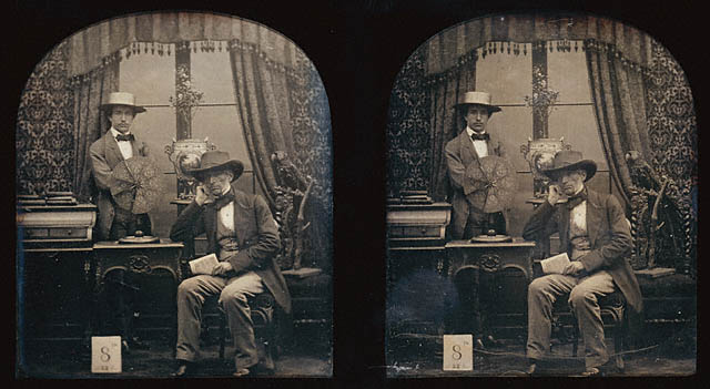 Antoine Claudet Self-Portrait with His Son Francis 1853 Daguerreotype, stereo, two 1:6 plates 2 11:16 x 2 1:4 in J. Paul Getty Museum