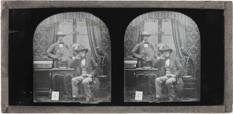 Antoine Claudet Self-portrait with His Son Henri and His Invention, the Focimeter 1851-1853 Daguerreotype, stereograph 3 1:4 × 6 7:8 × 1:8 ins (8.3 × 17.5 × 0.3 cm) (ov