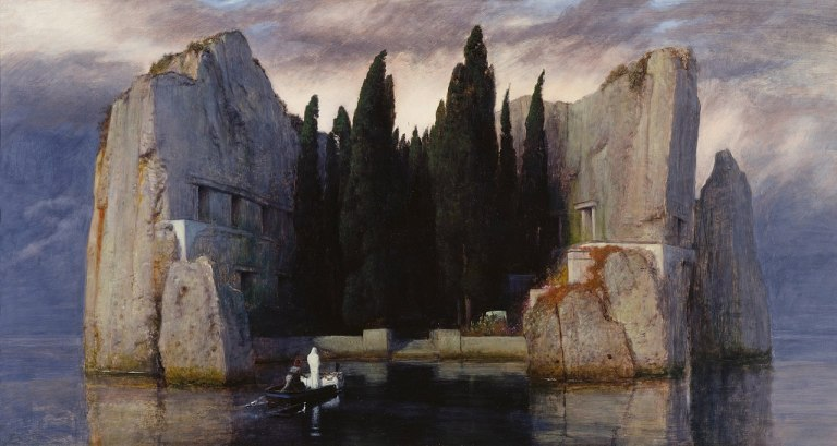 Arnold Böcklin (1827–1901) Blue pencil.svg wikidata-Q123071 s-de-Arnold Böcklin q-de-Arnold Böcklin Title Isle of the Dead wikidata-Q18009720 Description 3rd version Date 1883 Med