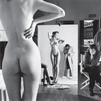 Helmet Newton (1981) Self Portrait with Wife June and Models.