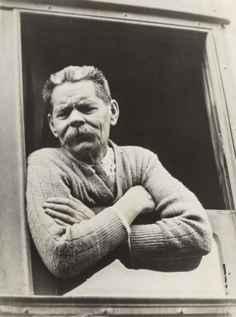 Max Alpert Maxim Gorky at the Moscow Train Station , 1928 Gelatin silver print 14.625 x 11.125 in