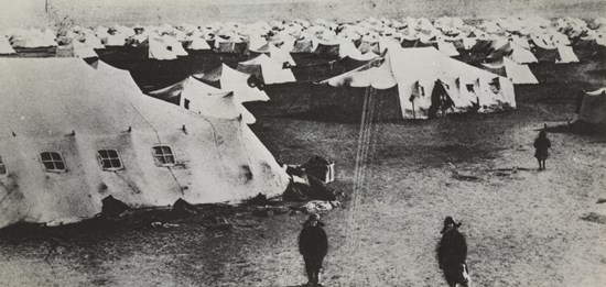 Max Alpert, Russian, 1899–1980 TITLE Beginning the construction of Magnitogorsk (Tent city) from the series Magnitogorsk DATE 1930 MEDIUM Gelatin silver print,5.4 × 11.1 cm