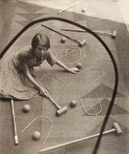 Pierre Dubreuil (c.1932) Le Croquet, bromoil 24.2 x 19.4cm.