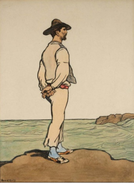 Jack B. Yeats (1906) An Island Man, frontispiece for Pen, ink and watercolour, 23 × 30.5cm.