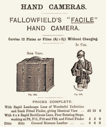 Advertisement for Fallowfield Facile 'detective' camera (c.1888).