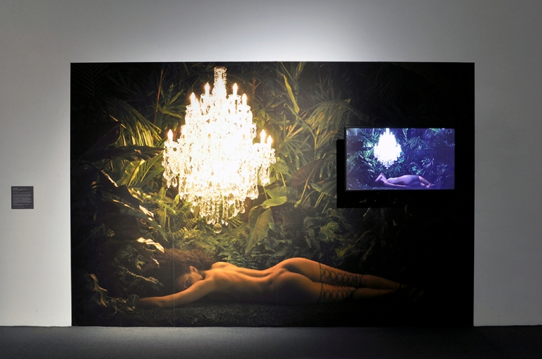 Angela Tiatia (Born 1973, Auckland, Aotearoa, New Zealand Lives and works in Sydney, NSW) Dark Light 2017 Video, duration- 4 min, self-adhesive inkjet pigment print Courtesy the artist a