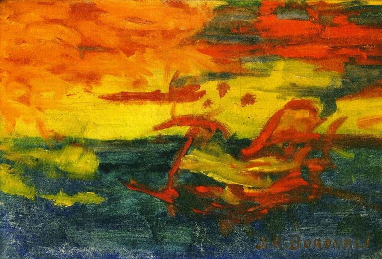 Et le soleil s'endormit sur l'Adriatique, J R BORONALI, 1910 Huile sur toile
