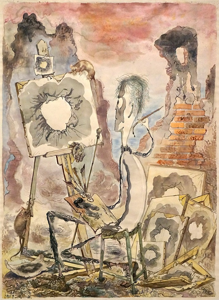 George Grosz, The Painter of the Hole, 1947, Watercolor on paper, 25 5:8 x 19 inches