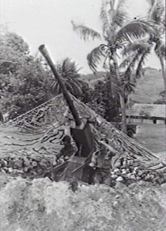 Max Dupain (September 1942) Goodenough Island, New Guinea; a camouflaged wooden gun, part of a deception by which the small group of australians who seized the island by convincing Japanese enemy of a larger Australian presence. Picture: AWM.