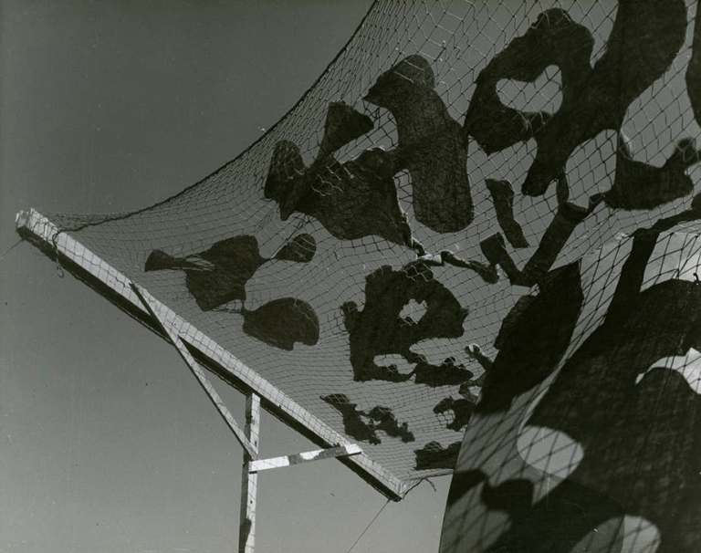 Max Dupain, Bankstown aerodrome camouflage experiment, c.1943. National Archives of Australia