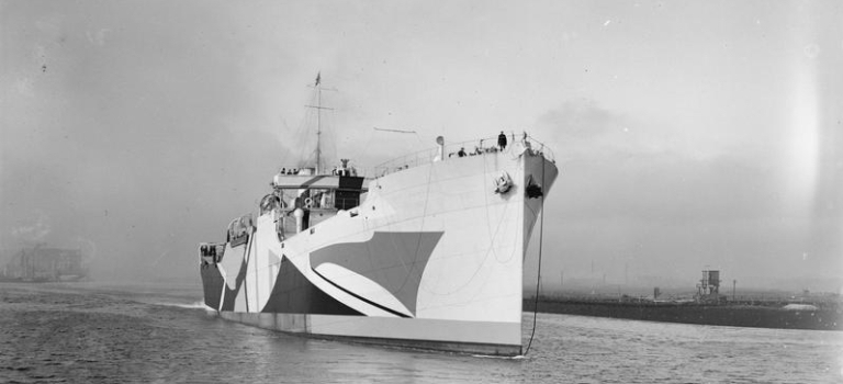 The first Standard ship, with dazzle camouflage, put to sea