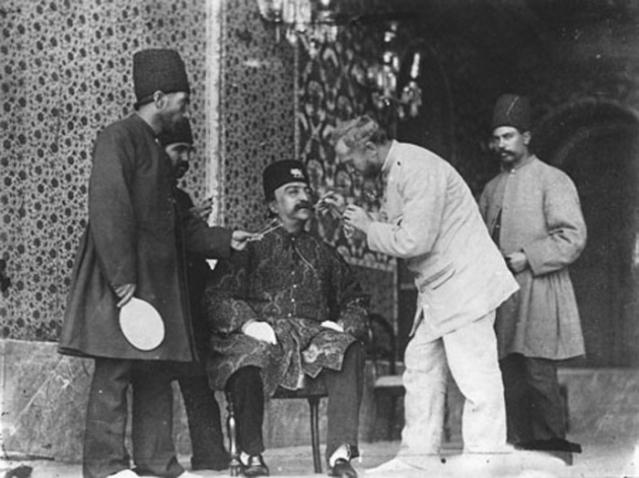 Al-Din Shah Qajar and photographer Sevryugin before photoshoot.