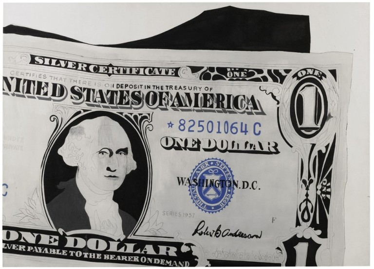 "Andy Warhol_s 1962 ""One Dollar Bill (Silver Certificate)"" fetched 20.9 million pounds ($32.6 million). (Sotheby's)"