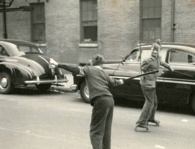 Roller skating on Lawrence Street (Philadelphia), 1953. Photo by Edward Wallowitch