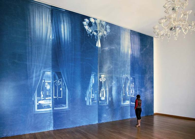 Pentimenti (Löwenpalais), 2012, cyanotype on molton, 640 cm x 1180 cm, Starke Foundation, Löwenpalais Berlin, photo- Ute Lindner